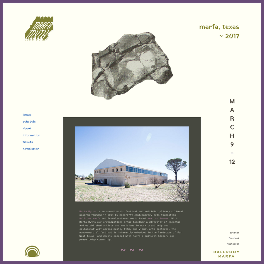 Marfa Myths is an annual music festival and multidisciplinary cultural program founded in 2014 by nonprofit contemporary arts foundation Ballroom Marfa and Brooklyn-based music label Mexican Summer.