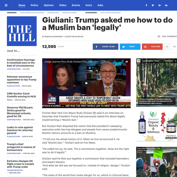 """Former New York City Mayor Rudy Giuliani (R) said in an interview on Saturday that President Trump had previously asked him about legally implementing a """"Muslim ban."""""""
