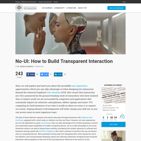 No-UI: How to Build Transparent Interaction