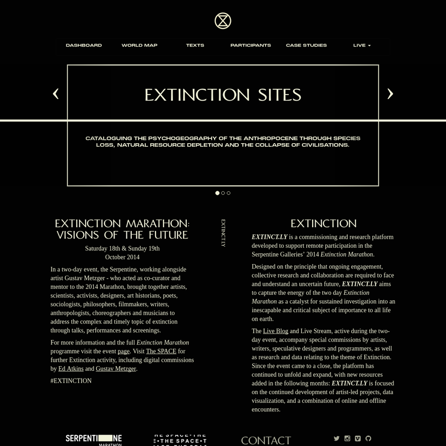 EXTINCT.LY is an ongoing commissioning and research platform developed to support remote participation in the Serpentine Galleries' 2014 Extinction Marathon: Visions of the Future.