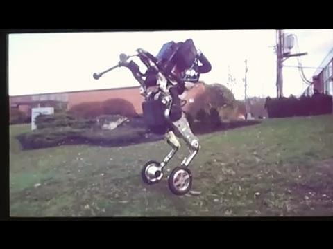 "Boston Dynamics ""nightmare inducing"" wheeled robot, presentation video close-up"