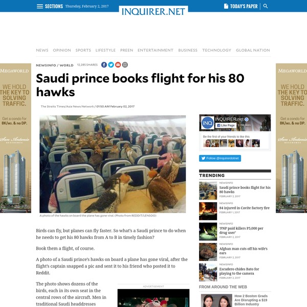Birds can fly, but planes can fly faster. So what's a Saudi prince to do when he needs to get his 80 hawks from A to B in timely fashion? Book them a flight, of course. A photo of a