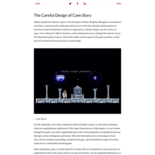 The Careful Design of Cave Story