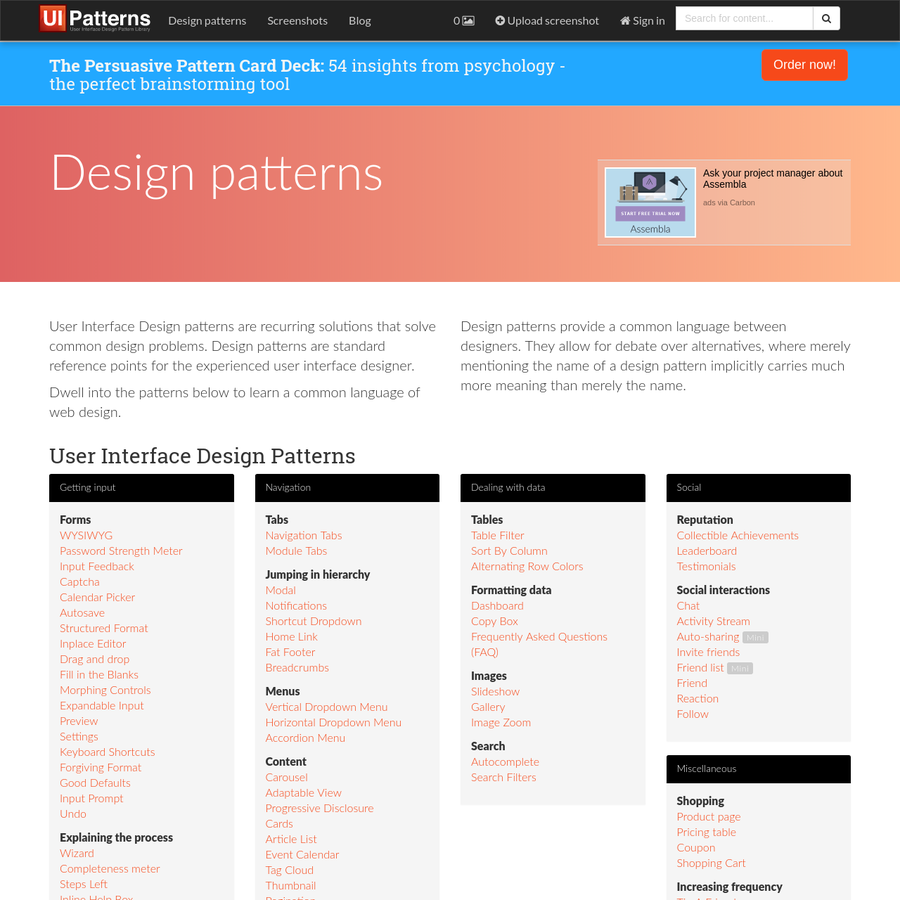 It has long been common practice in software design to use libraries of recurring solutions to solve common problems in software design. Such solutions are also called design patterns.