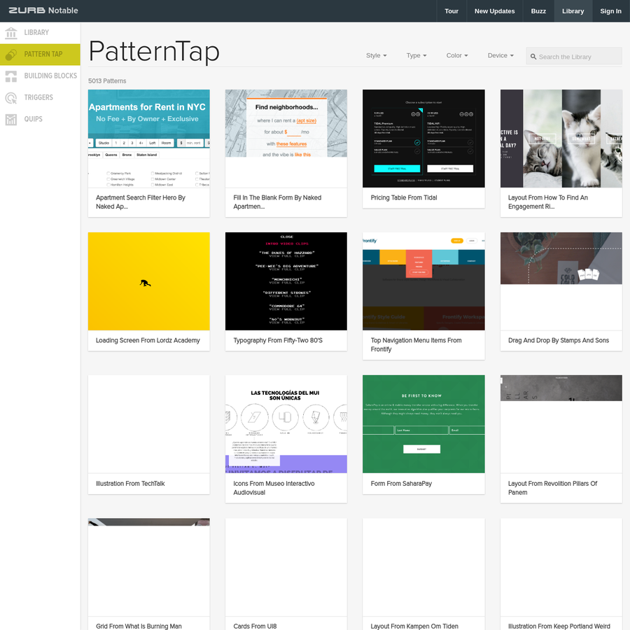 Pattern Tap is ZURB's gallery of specific design and interaction patterns meant to inspire your design work.
