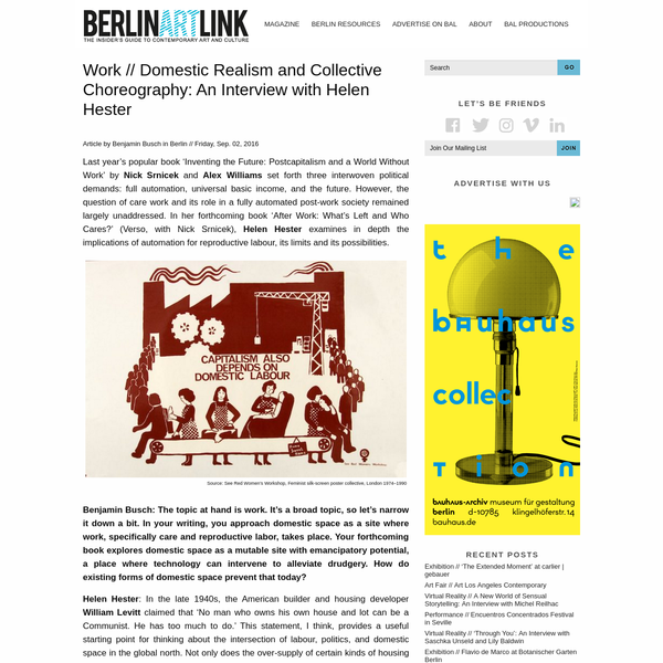 Article by Benjamin Busch in Berlin // Friday, Sep. 02, 2016 Last year's popular book 'Inventing the Future: Postcapitalism and a World Without Work' by Nick Srnicek and Alex Williams set forth three interwoven political demands: full automation, universal basic income, and the future.