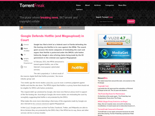 Google Defends Hotfile (and Megaupload) in Court | TorrentFreak