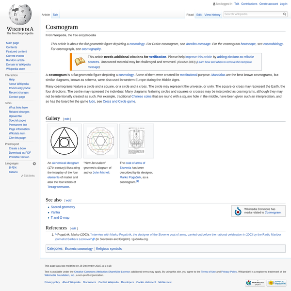 A cosmogram is a flat geometric figure depicting a cosmology. Some of them were created for meditational purpose. Mandalas are the best known cosmograms, but similar diagrams, known as schema, were also used in western Europe during the Middle Ages.