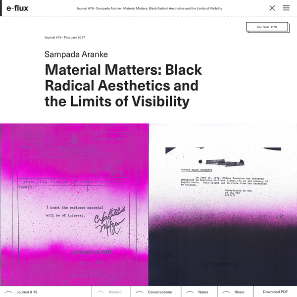 Material Matters: Black Radical Aesthetics and the Limits of Visibility