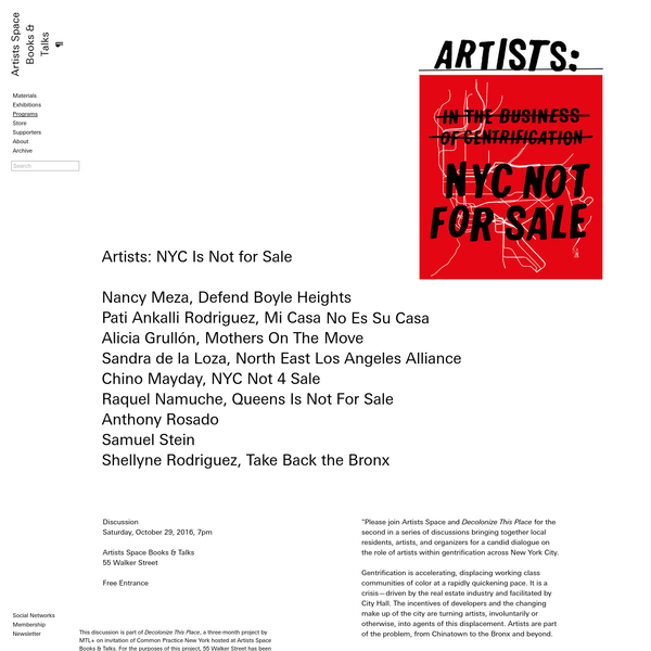 Artists: NYC Is Not for Sale