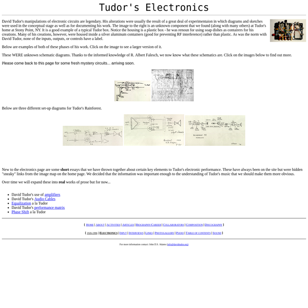 "short essays that we have thrown together about certain key elements to Tudor's electronic performance. These have always been on the site but were hidden ""sneaky"" links from the image map on the home page. We decided that the information was important enough to the understanding of Tudor's music that we should make them more obvious."