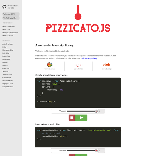 Are na / Pizzicato js: A Javascript library for web audio