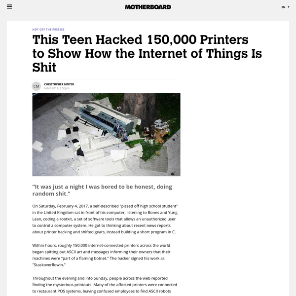 This Teen Hacked 150,000 Printers to Show How the Internet of Things Is Shit - Motherboard