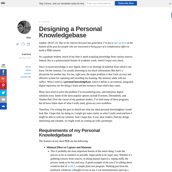 Designing a Personal Knowledgebase