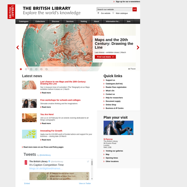 This is the home page of the British Library website. Use this site to search our catalogues, order items for research, view exhibitions and link to information resources worldwide. The Library conserves knowledge for future generations. It is the UK's leading research library.