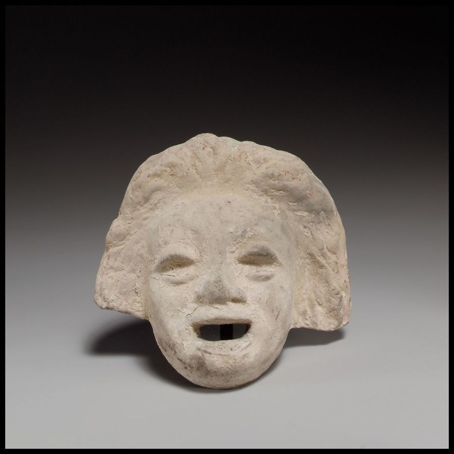 Terracotta comic mask, late 4th–early 3rd century BC