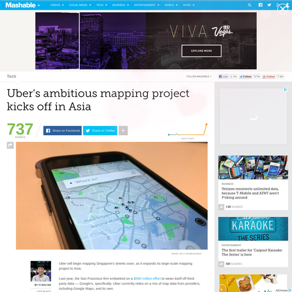 Uber will begin mapping Singapore's streets soon, as it expands its large-scale mapping project to Asia. Last year, the San Francisco firm embarked on a $500 million effort to wean itself off third-party data - Google's, specifically. Uber currently relies on a mix of map data from providers, including Google Maps, and its own.