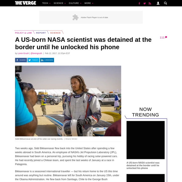 Two weeks ago, Sidd Bikkannavar flew back into the United States after spending a few weeks abroad in South America. An employee of NASA's Jet Propulsion Laboratory (JPL), Bikkannavar had been on a...