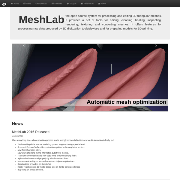 MeshLab the open source system for processing and editing 3D triangular meshes. It provides a set of tools for editing, cleaning, healing, inspecting, rendering, texturing and converting meshes. It offers features for processing raw data produced by 3D digitization tools/devices and for preparing models for 3D printing.