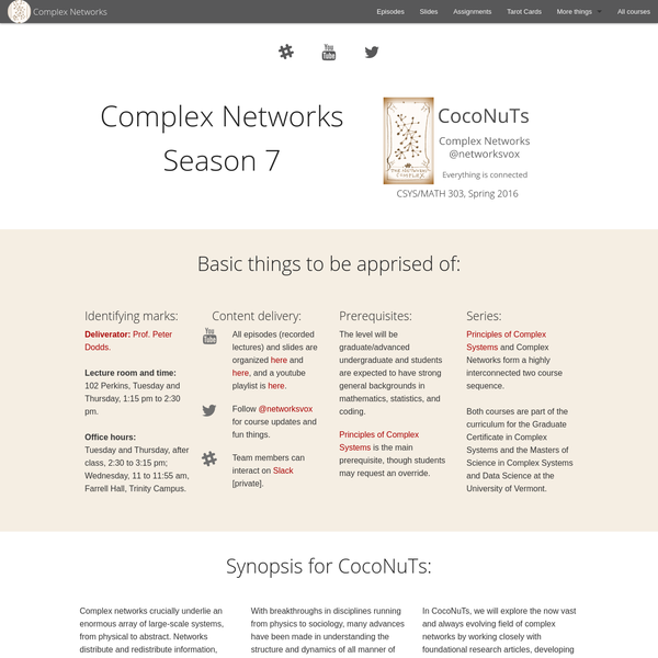 CocoNuTs: Complex Networks