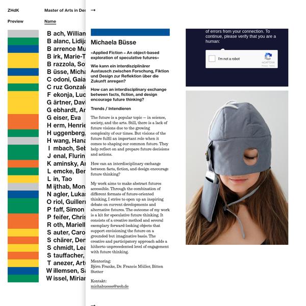 ZHdK, Master of Arts in Design: Diplomarbeiten 2014