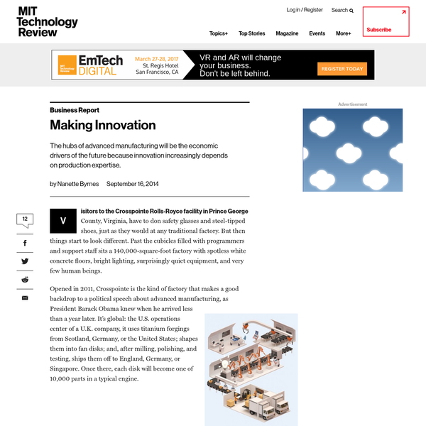 Advanced Manufacturing: Incubating Innovation