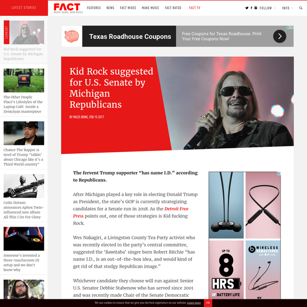 Kid Rock suggested for U.S. Senate by Michigan Republicans