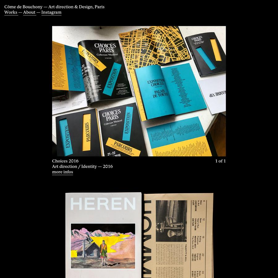 Portfolio of Côme de Bouchony, Paris-based independent designer and art director.