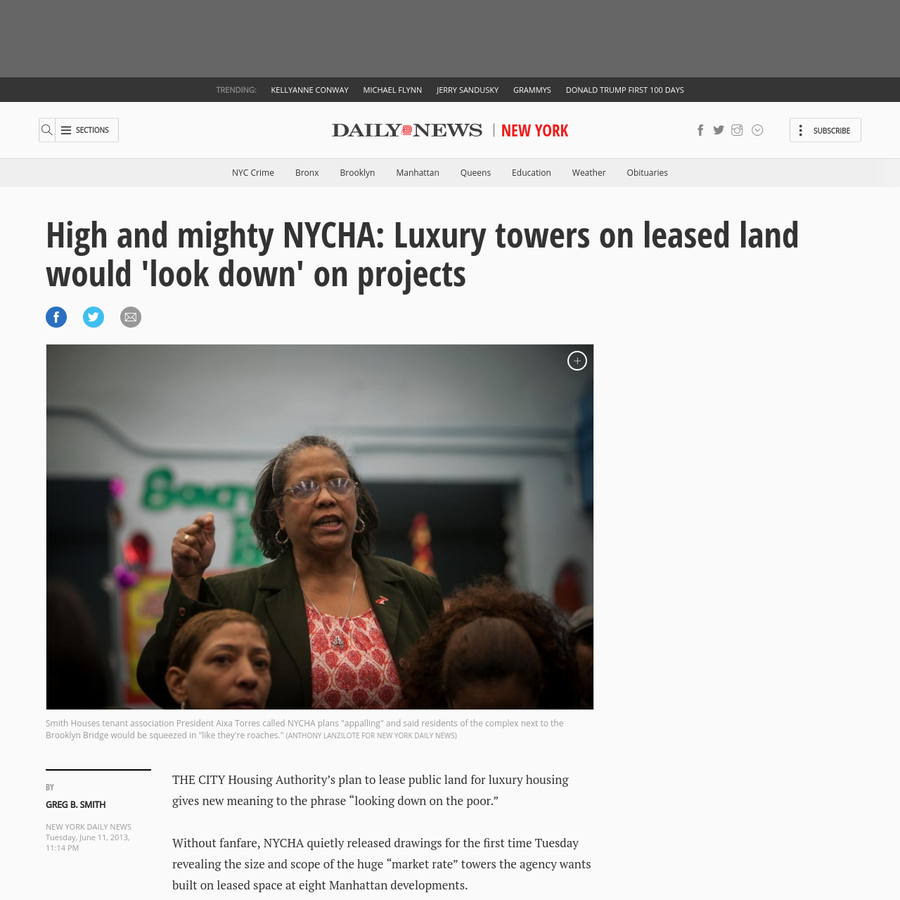 """THE CITY Housing Authority's plan to lease public land for luxury housing gives new meaning to the phrase """"looking down on the poor."""" Without fanfare, NYCHA quietly released drawings for the first time Tuesday revealing the size and scope of the huge """"market rate"""" towers the agency wants built on leased space at eight Manhattan developments."""