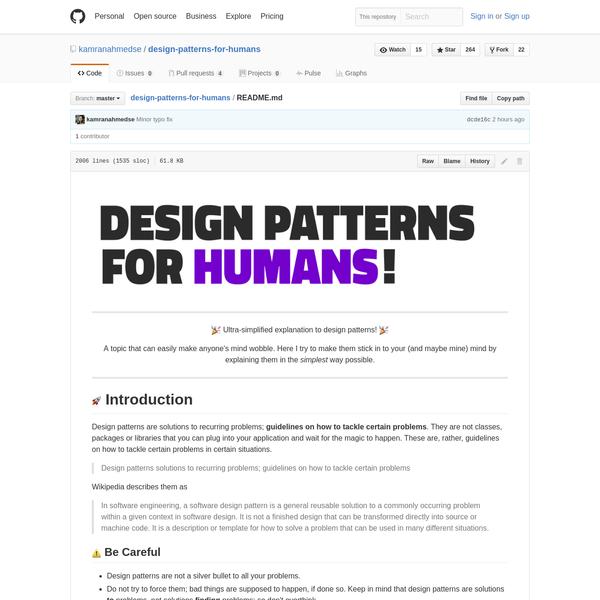 design-patterns-for-humans/README.md at master · kamranahmedse/design-patterns-for-humans · GitHub