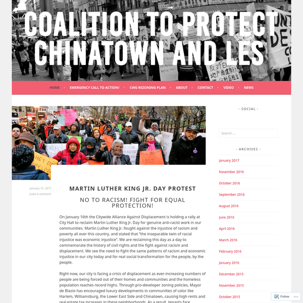 """On January 16th the Citywide Alliance Against Displacement is holding a rally at City Hall to reclaim Martin Luther King Jr. Day for genuine anti-racist work in our communities. Martin Luther King Jr. fought against the injustice of racism and poverty all over this country, and stated that """"the inseparable twin of racial injustice was economic injustice""""."""