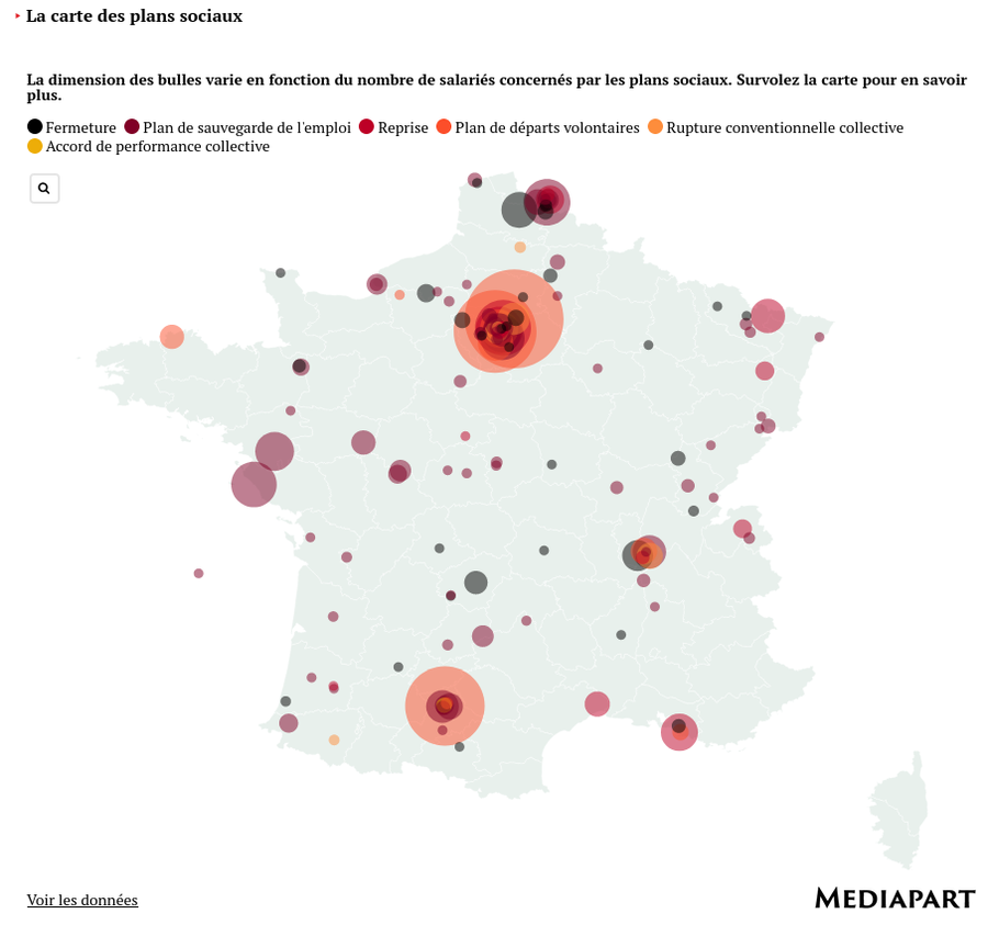 Map of job losses in France - Mediapart