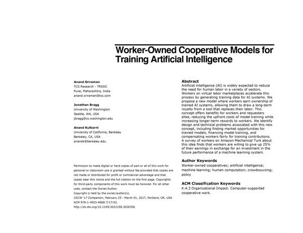 Worker-Owned Cooperative Models for Training Artificial Intelligence