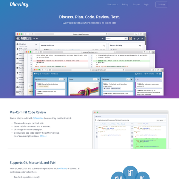 Phabricator is a suite of open source tools for peer code review, task management, and project communication.