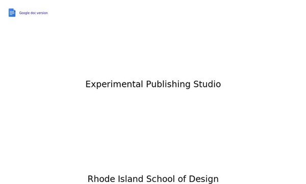 RISD Experimental Publishing Studio