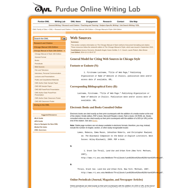 This section contains information on The Chicago Manual of Style method of document formatting and citation. These resources follow the sixteenth edition of The Chicago Manual of Style, which was issued in September 2010.