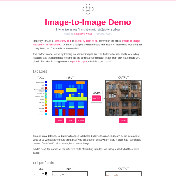 Recently, I made a Tensorflow port of pix2pix by Isola et al., covered in the article Image-to-Image Translation in Tensorflow. I've taken a few pre-trained models and made an interactive web thing for trying them out. Chrome is recommended.