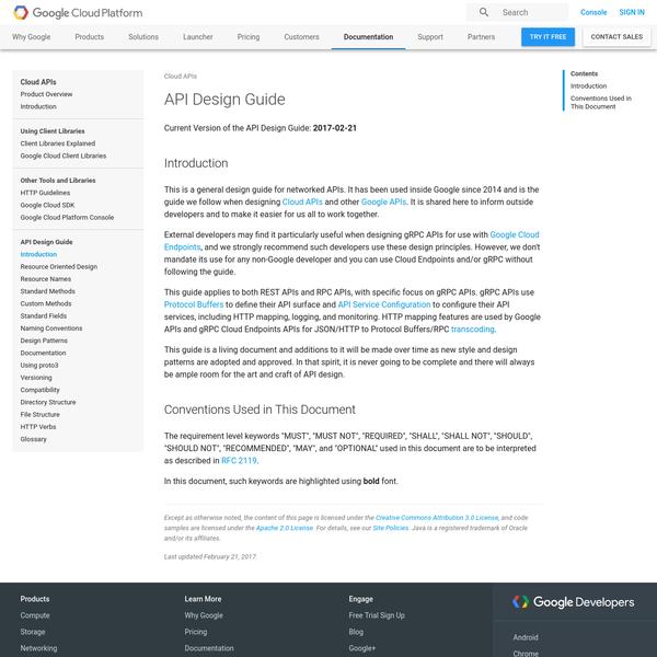 API Design Guide | Cloud APIs | Google Cloud Platform