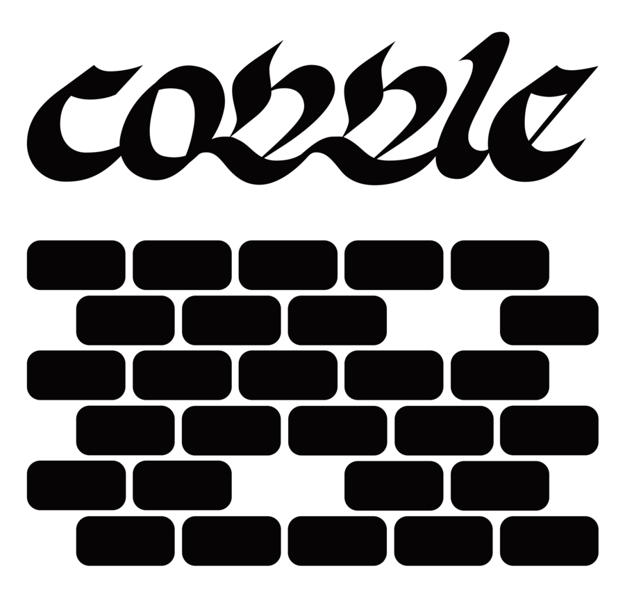Cobble in an ornamental italic above a pattern of rounded rectangles