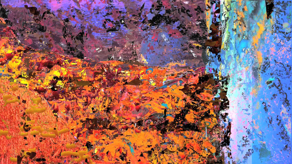 Borna Sammak, untitled video painting 04 (cliff), 2009 (detail)