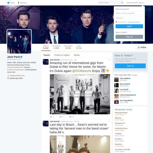 The latest Tweets from Jack Pack (@JACKPACK_UK). Martin, Alfie, Andrew and Sean. British Harmony Swing Group iTunes: https://t.co/w9LeVsK3my Amazon: https://t.co/55QLyCVWjQ anthony@astar-music.com
