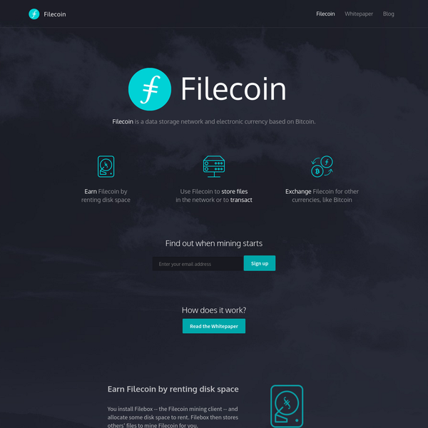 Filecoin is a data storage network and electronic currency based on Bitcoin.