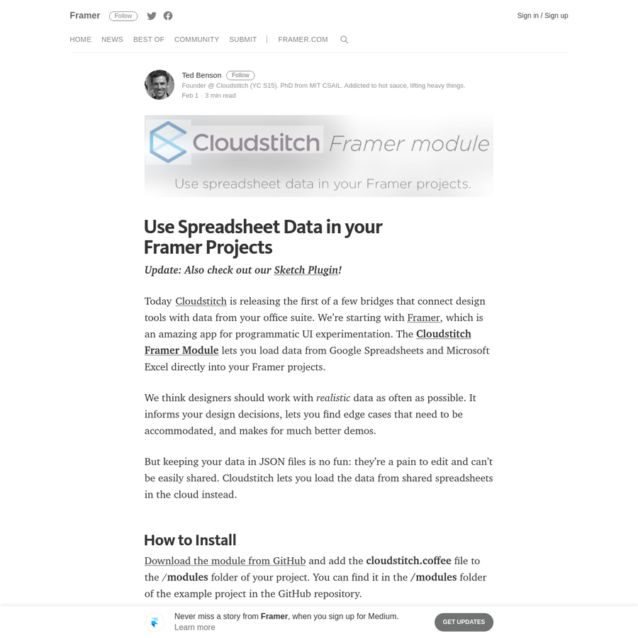 Today Cloudstitch is releasing the first of a few bridges that connect design tools with data from your office suite. We're starting with Framer, which is an amazing app for programmatic UI experimentation. The Cloudstitch Framer Module lets you load data from Google Spreadsheets and Microsoft Excel directly into your Framer projects.