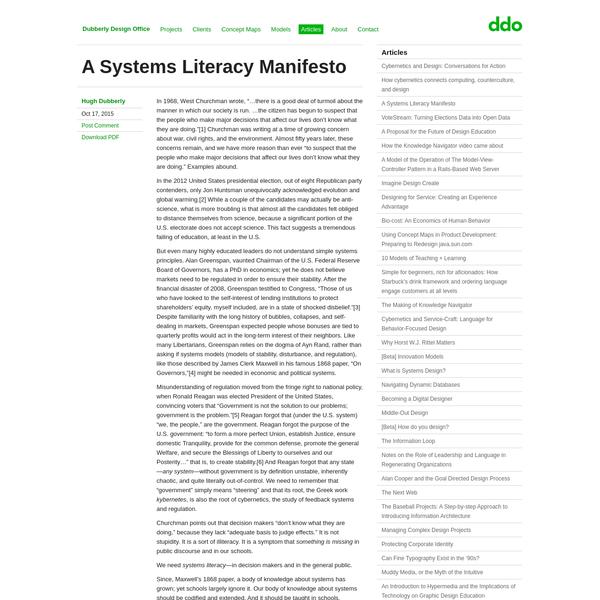 A Systems Literacy Manifesto
