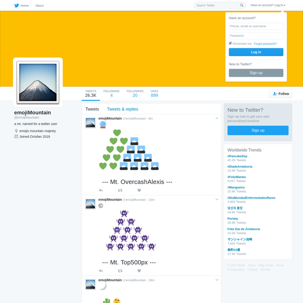 The latest Tweets from emojiMountain (@emojiMountain). a mt. named for a twitter user. emojis mountain majesty