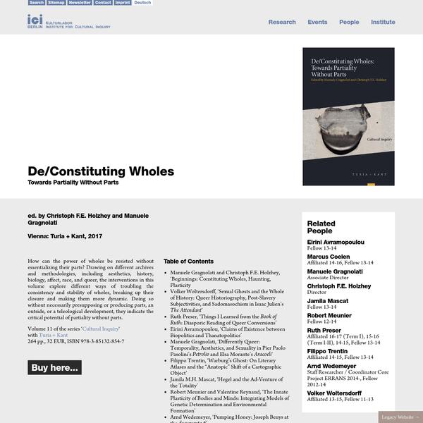 De/Constituting Wholes - ICI Berlin
