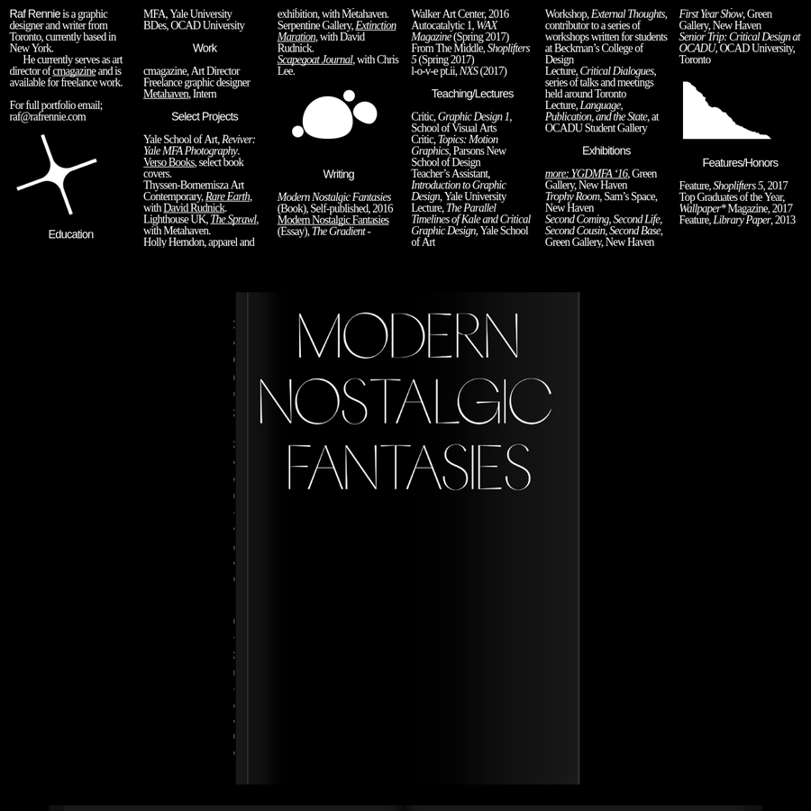 Modern Nostalgic Fantasies (Book), Self-published, 2016Modern Nostalgic Fantasies (Essay), The Gradient - Walker Art Center, 2016 Autocatalytic 1, WAX Magazine From The Middle, Shoplifters 5, l-o-v-e pt.ii, NXS (2017) , Rivet 4, OCADU Student Press