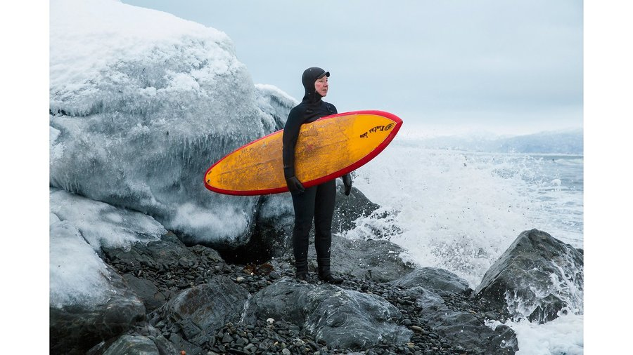 Wendy McCune and her husband, Mike, co-own Ocean Swell Ventures, which plans custom outings like surfing, stand-up paddling, and hunting and fishing for tourists.  Via http://www.vogue.com/projects/13528081/american-women-female-alaska-fisherman-salmon-sisters-emma-teal-laukitis-claire-neaton/