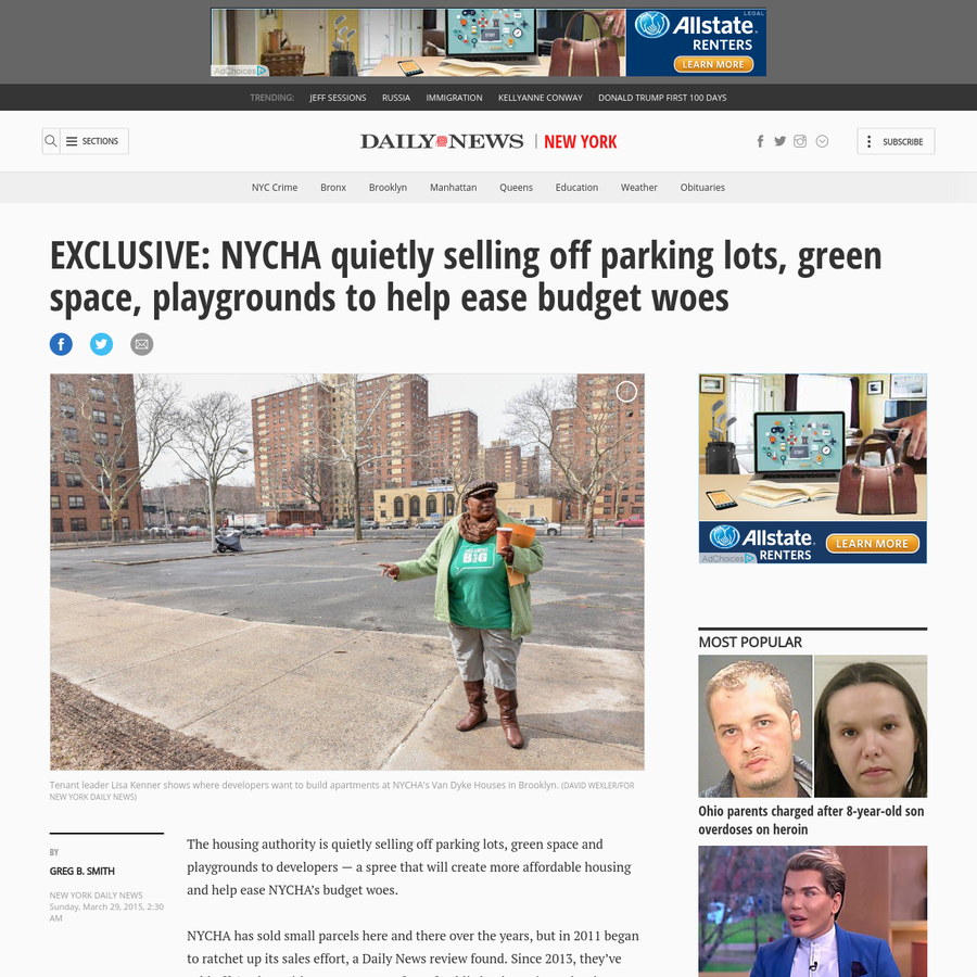 The housing authority is quietly selling off parking lots, green space and playgrounds to developers - a spree that will create more affordable housing and help ease NYCHA's budget woes. NYCHA has sold small parcels here and there over the years, but in 2011 began to ratchet up its sales effort, a Daily News review found.