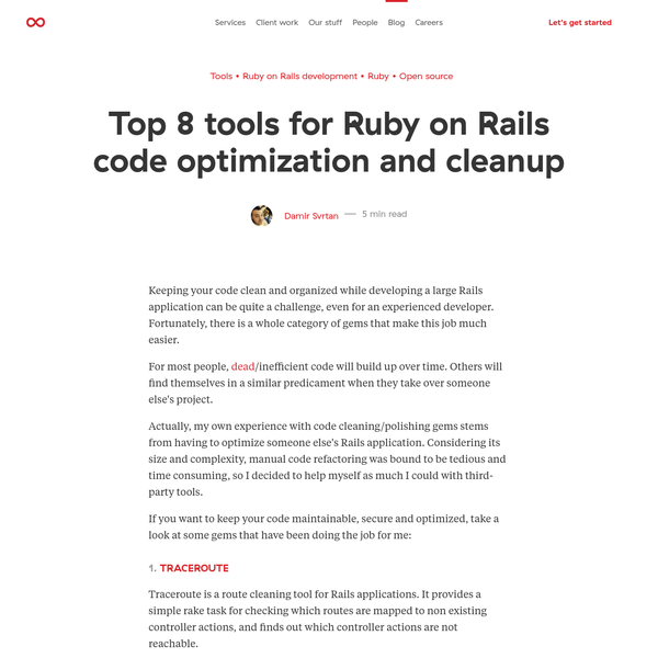 Top 8 tools for Ruby on Rails code optimization and cleanup